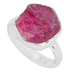 6.39cts natural pink ruby rough 925 silver solitaire ring jewelry size 6 p68978