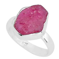 6.39cts natural pink ruby rough 925 silver solitaire ring jewelry size 7 p68979