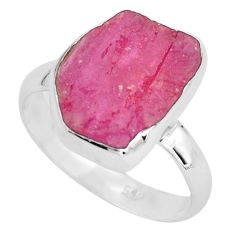 8.80cts natural pink ruby rough 925 silver solitaire ring size 8.5 p68927