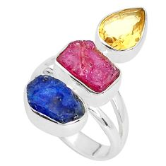 13.28cts natural pink ruby rough sapphire rough 925 silver ring size 7 p33288