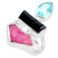 13.28cts natural pink ruby rough tourmaline rough 925 silver ring size 6 p33287