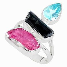 14.72cts natural pink ruby rough tourmaline rough 925 silver ring size 8 p33292