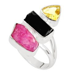 13.77cts natural pink ruby rough tourmaline rough 925 silver ring size 8 p33299