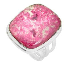 20.38cts natural pink thulite 925 silver solitaire ring jewelry size 8 p32982
