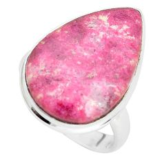 14.45cts natural pink thulite 925 silver solitaire ring jewelry size 7.5 p32995