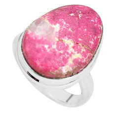 14.45cts natural pink thulite 925 silver solitaire ring jewelry size 8 p32998