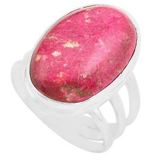 15.31cts natural pink thulite 925 silver solitaire ring jewelry size 8 p80636