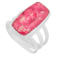 10.64cts natural pink thulite 925 silver solitaire ring size 7.5 p80631
