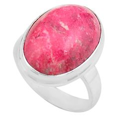 14.12cts natural pink thulite 925 silver solitaire ring size 7.5 p80632