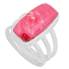 10.37cts natural pink thulite 925 silver solitaire ring size 8 p80635