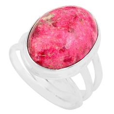 14.12cts natural pink thulite 925 sterling silver solitaire ring size 8 p80625