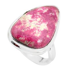 15.02cts natural pink thulite fancy 925 silver solitaire ring size 8 p32985
