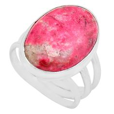 15.97cts natural pink thulite oval 925 silver solitaire ring size 8.5 p80621