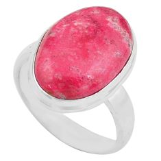 14.26cts natural pink thulite oval 925 silver solitaire ring size 8.5 p80627