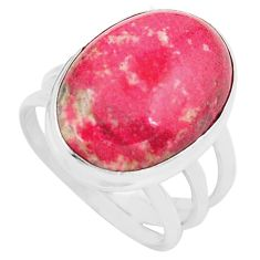 15.31cts natural pink thulite oval 925 silver solitaire ring size 8 p80629