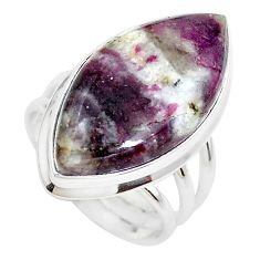18.15cts natural pink tourmaline in quartz silver solitaire ring size 8 p38747