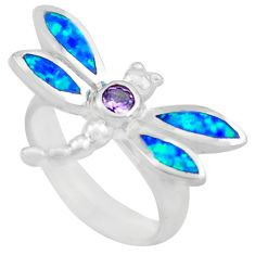0.55cts natural purple amethyst 925 silver dragonfly ring size 6 c4170