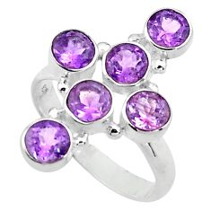 5.60cts natural purple amethyst 925 silver holy cross ring size 9 p77665