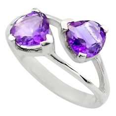 2.73cts natural purple amethyst 925 silver ring jewelry size 5.5 p83623