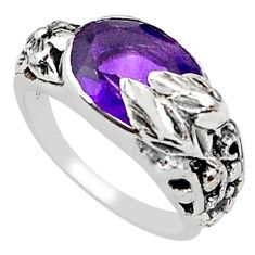 4.21cts natural purple amethyst 925 silver solitaire flower ring size 6 p81621