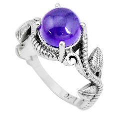 3.28cts natural purple amethyst 925 silver solitaire ring jewelry size 7 p36123