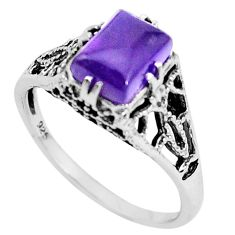 2.21cts natural purple amethyst 925 silver solitaire ring jewelry size 8 p36229