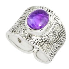 4.52cts natural purple amethyst 925 silver solitaire ring jewelry size 7 p51086
