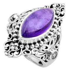 8.96cts natural purple amethyst 925 silver solitaire ring jewelry size 6 p55861