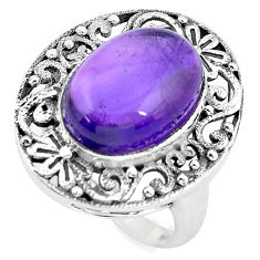 7.33cts natural purple amethyst 925 silver solitaire ring jewelry size 7 p55881