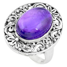 6.76cts natural purple amethyst 925 silver solitaire ring jewelry size 7 p55882