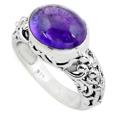 5.31cts natural purple amethyst 925 silver solitaire ring jewelry size 7 p55981