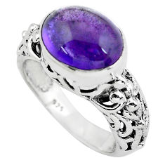 5.53cts natural purple amethyst 925 silver solitaire ring jewelry size 8 p55983
