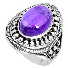 6.61cts natural purple amethyst 925 silver solitaire ring jewelry size 8 p56021