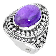 6.42cts natural purple amethyst 925 silver solitaire ring jewelry size 7 p56022
