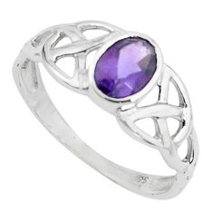 1.62cts natural purple amethyst 925 silver solitaire ring jewelry size 8 p62001