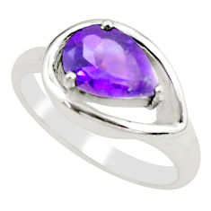 2.44cts natural purple amethyst 925 silver solitaire ring jewelry size 7 p62248