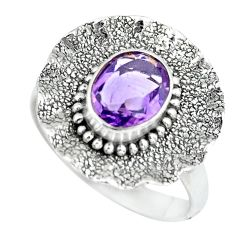 3.28cts natural purple amethyst 925 silver solitaire ring jewelry size 8 p64154