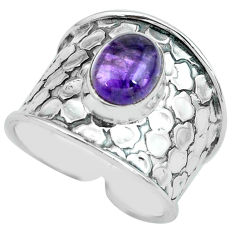 3.29cts natural purple amethyst 925 silver solitaire ring jewelry size 8 p68467