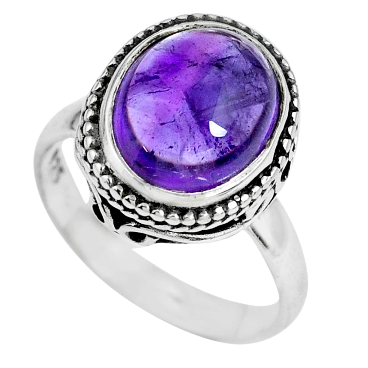 suppiler 925 Solid Sterling Silver Captivating Natural Purple Ring Amethyst Purple Gems Silver Ring