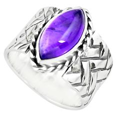 7.22cts natural purple amethyst 925 silver solitaire ring jewelry size 8 p77142