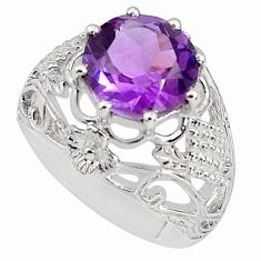 5.83cts natural purple amethyst 925 silver solitaire ring jewelry size 8 p81681