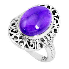 6.76cts natural purple amethyst 925 silver solitaire ring size 6.5 p36082