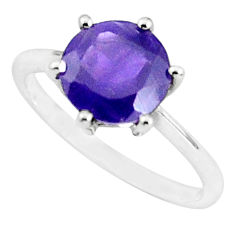 2.75cts natural purple amethyst 925 silver solitaire ring size 5.5 p36995