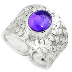 4.51cts natural purple amethyst 925 silver solitaire ring size 8.5 p51003