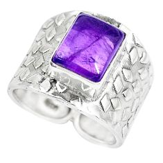 4.52cts natural purple amethyst 925 silver solitaire ring size 7.5 p51007
