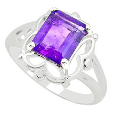 3.19cts natural purple amethyst 925 silver solitaire ring size 5.5 p62293