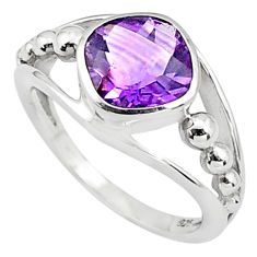 3.22cts natural purple amethyst 925 silver solitaire ring size 5.5 p81606