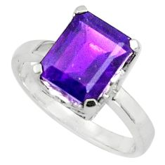 4.08cts natural purple amethyst 925 silver solitaire ring size 5.5 p81935