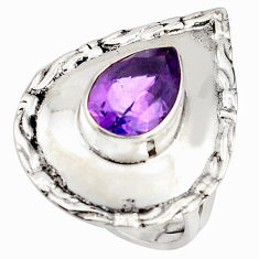 4.71cts natural purple amethyst 925 silver solitaire ring size 7.5 p85821