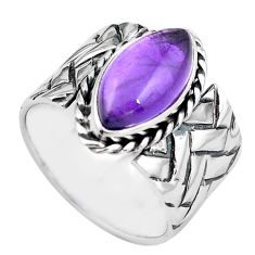 6.15cts natural purple amethyst 925 silver solitaire ring size 8.5 p87963